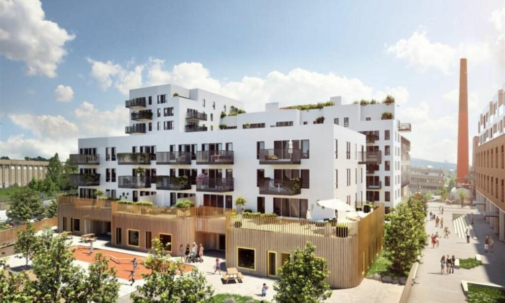 KJØLT SEG NED: Da dette prosjektet på Løren i Oslo ble lagt ut for salg i 2016, ble 54 av 75 leiligheter revet bort. I dag er det langt roligere på nybygg-fronten i hovedstaden. Illustrasjon: DnB Eiendom