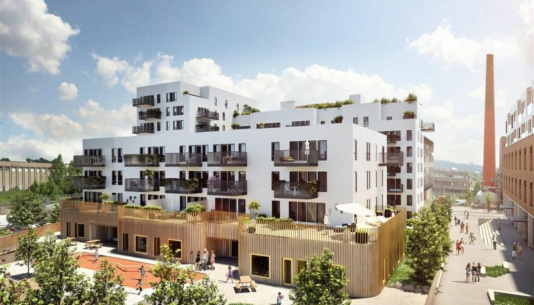 <strong>KJØLT SEG NED:</strong> Da dette prosjektet på Løren i Oslo ble lagt ut for salg i 2016, ble 54 av 75 leiligheter revet bort. I dag er det langt roligere på nybygg-fronten i hovedstaden. Illustrasjon: DnB Eiendom
