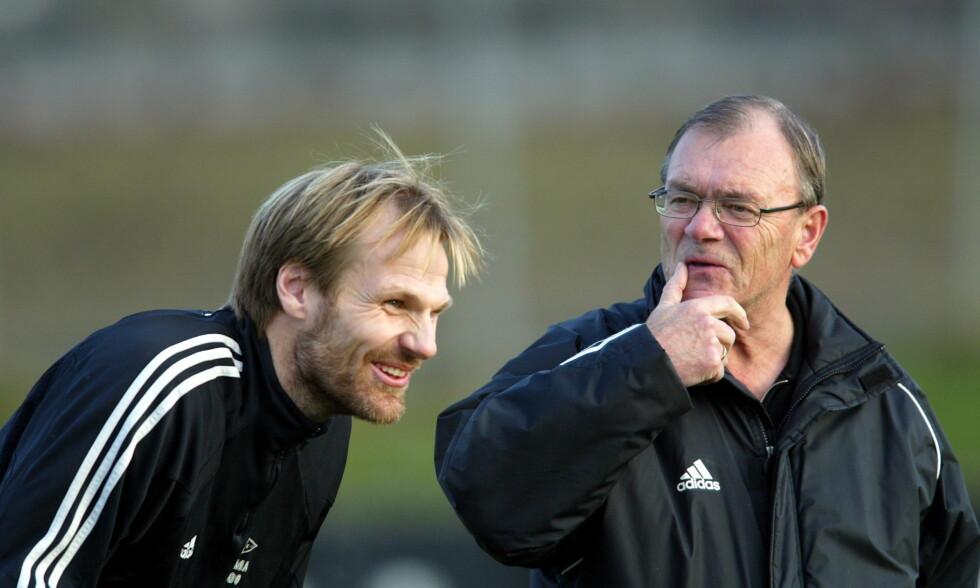 Bjørn Hansen t.h. og Erik Hoftun på Rosenborg-trening på Lerkendal i 2004. Foto: Gorm Kallestad / NTB scanpix
