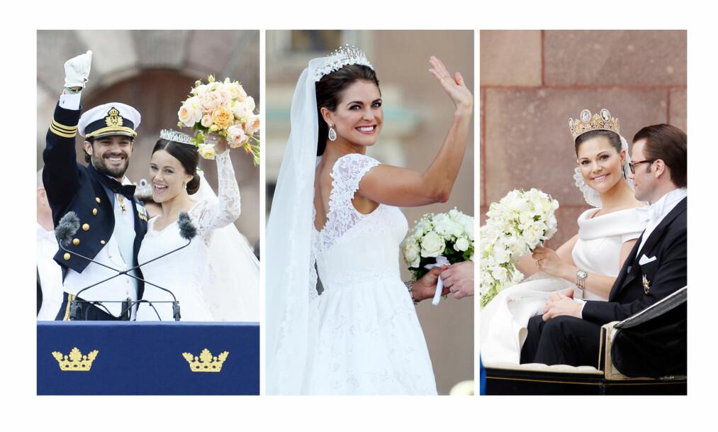 KONGELIGE BRUDEKJOLER: Prinsesse Sofia, prinsesse Madeleine og kronprinsesse Victoria av Sverige avslører alle tre detaljer om bryllupet og brudekjolene de bar da de giftet seg i henholdsvis 2010, 2013 og 2015. FOTO: NTB Scanpix