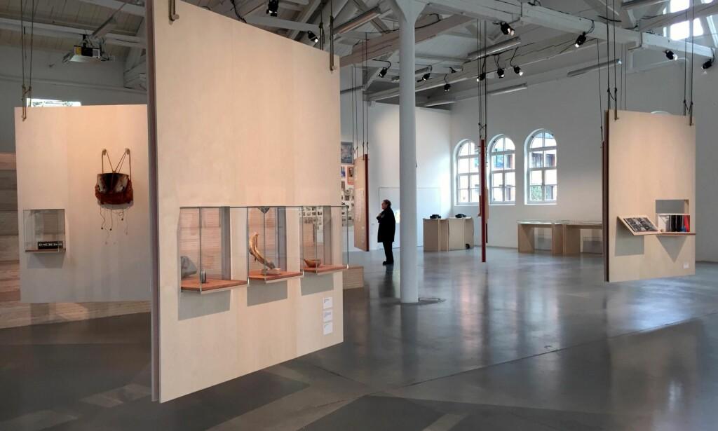 ÅPENT LANDSKAP: Utstillingen «Let the River Flow» på Office for Contemporary Art forteller historien om samiske kunstneres politiske rolle siden Alta-aksjonen. Verkene er montert på hengende utstillingsvegger i ubehandlet kryssfiner, og gir følelsen av å bevege seg mellom bjørkestammer på vidda. <br>Foto: Arve Rød