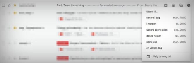 <strong>SLUMRE:</strong> Har du ikke tid til å svare nå, kan du slumre e-posten slik at den spretter opp i innboksen senere. Skjermbilde: Pål Joakim Pollen