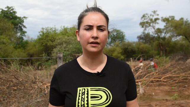 BEKYMRET: Seniorrådgiver Ines Luna i Regnskogfondet følger utviklingen tett. Her er hun på feltbesøk i Paraguay. Foto: Regnskogfondet.