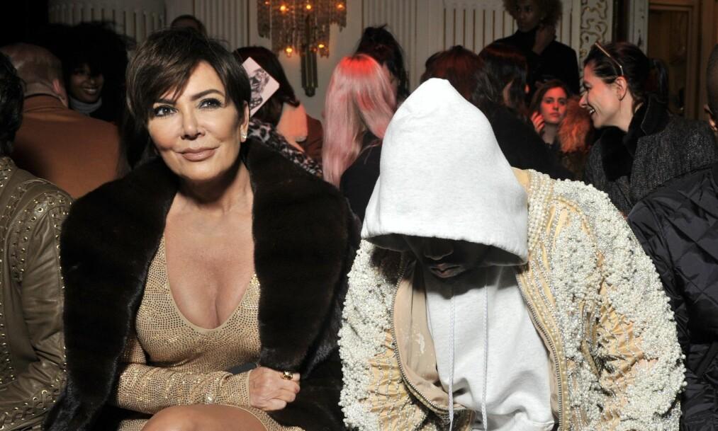 TAR AVSTAND: Kris Jenner nekter å blande seg inn i svigersønnens Twitter-storm. Til Ellen DeGeneres forteller hun at hun lar Kanye West (t.h.) stå for forklaringen selv. Foto: NTB Scanpix
