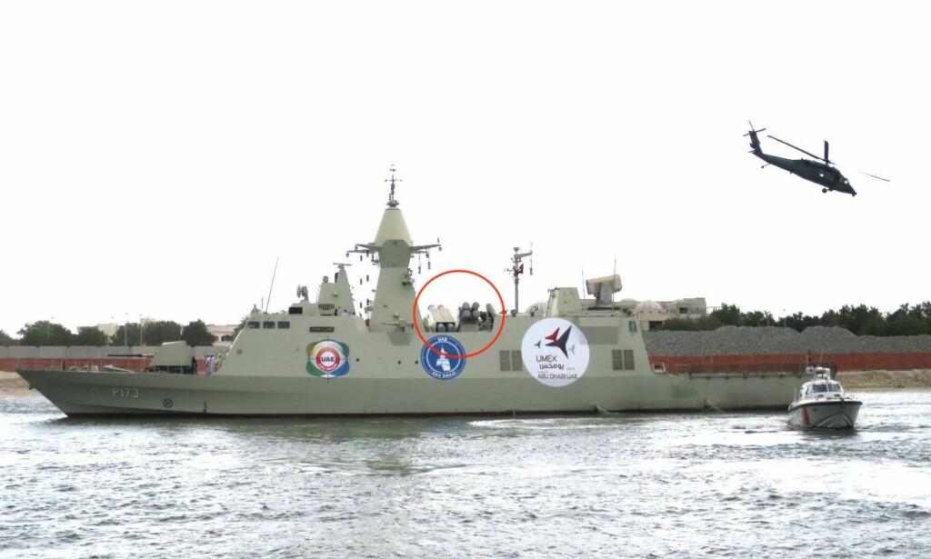 DELTAR: Exocet-missilene montert på de emiratiske korvettene. Foto: Mztourist, Wikimedia commons.