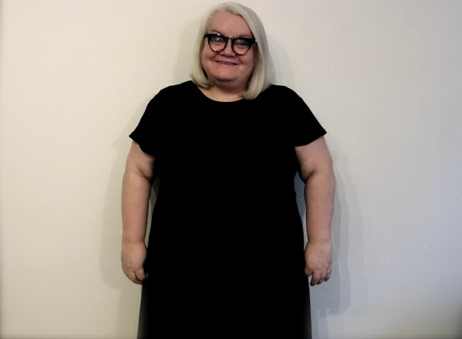 OVERSPIST I 40 ÅR: - Overspising har som regel en underliggende årsak, og for meg var mat en avhengighet på samme måte som andre blir rusavhengige eller alkoholikere, sier Mona Larsen. FOTO: Privat