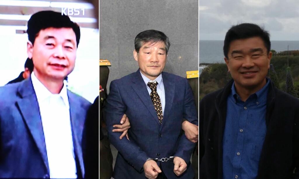 PÅ VEI HJEM: De tre amerikanske statsborgerne, Kim Hak-song, Kim Dong-chul og Tony Kim, som alle har vært fengslet i Nord-Korea, er på vei ut av landet sammen med USAs utenriksminister Mike Pompeo, ifølge president Donald Trump. Alle foto: NTB Scanpix