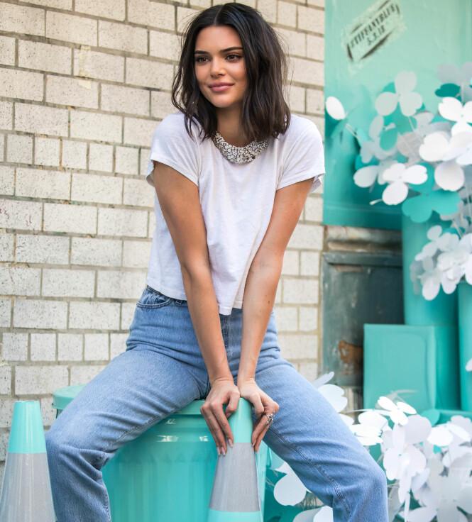 SUPERMODELL: Kendall Jenner er en ettertraktet modell. Her poserer hun i Soho, New York, for Tiffany. Foto: Splash News/ NTB scanpix