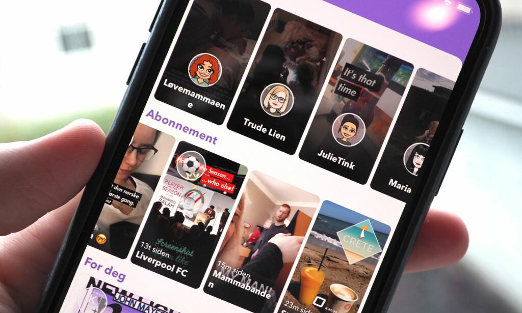 ENDELIG: Nå som mange kanskje har blitt vant til å bruke nye Snapchat, endrer de tilbake til nesten sånn det var før. Venners stories er tilbake på høyre side igjen. Foto: Kirsti Østvang