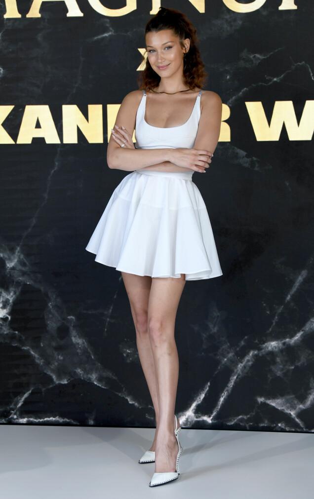 <strong>KORT-KORT:</strong> Supermodell Bella Hadid på Magnum-pressekonferanse i Cannes denne uken. Foto: Doug Peters/EMPICS/ NTB scanpix
