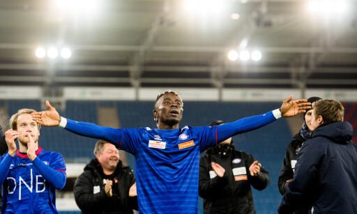 HELT IGJEN: Sam Johnson ble matchvinner borte mot Sandefjord og er nr. 2 på toppscorerlista i Eliteserien. Foto: Bildbyrån
