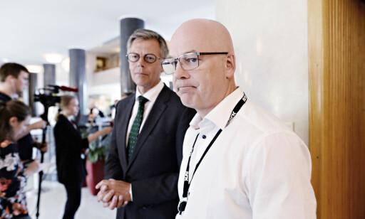 NRK-STREIK: NRKs kringkastingssjef Thor Gjermund Eriksen møtte pressen til pressekonferanse få minutter etter at 1700 NRK-ansatte gikk ut i streik. Foto: John T. Pedersen