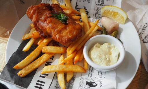 PERFEKT: Fish 'n' chips til 169 kroner.
