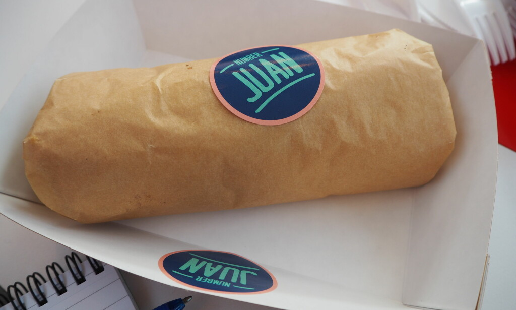 NUMBER JUAN: Burrito med ekstra guacamole (+20) koster 109 kroner.