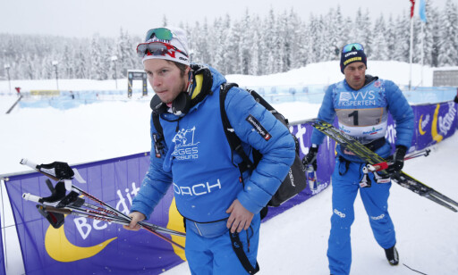 NÆRE: Daværende trener Eirk Myhr Fossum og Petter Northug fra NM på Lillehammer i 2014. Foto: Terje Bendiksby / NTB scanpix