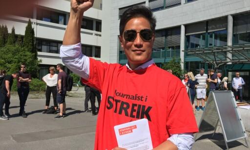 STREIKER: Programleder i Dagsnytt 18, Fredrik Solvang, er en av de 1700 NRK-ansatte som tirsdag gikk ut i streik. Foto: Privat
