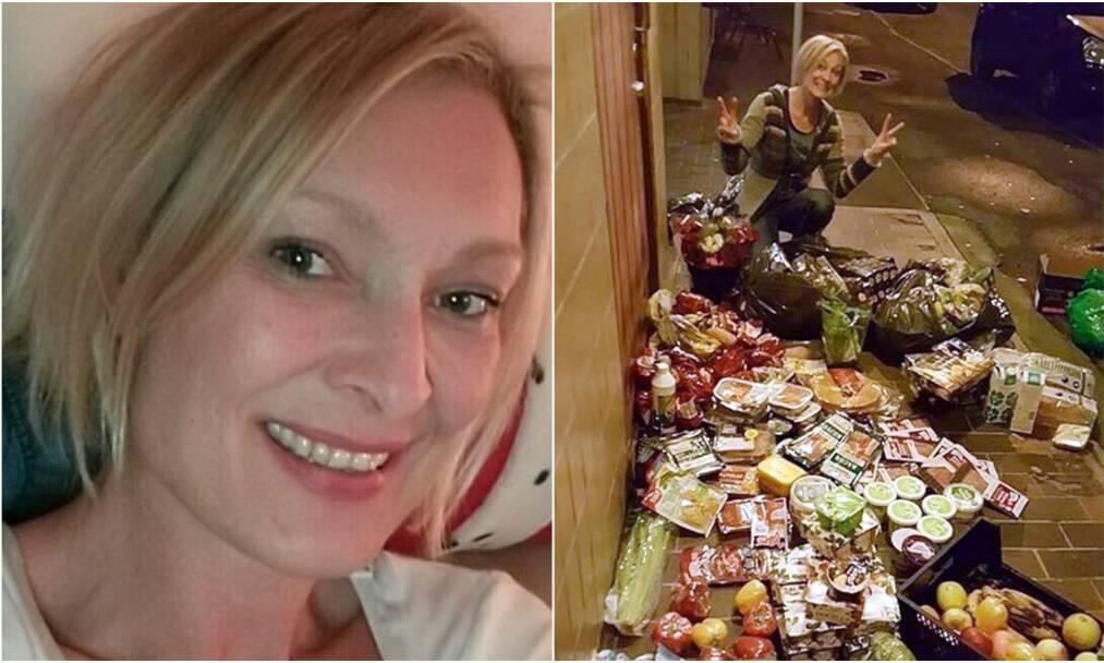 FRIGANER: Jeannett finner stort sett det hun trenger i søppelcontainere. - Det er helt utrolig hvor mye mat som kastes, sier hun. FOTO: Privat