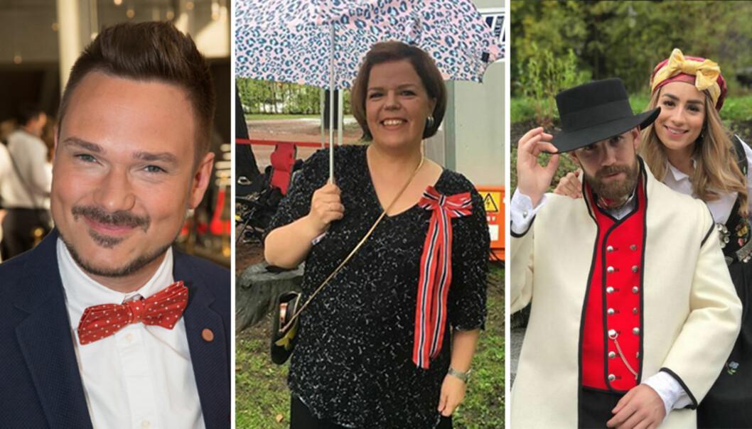 KLARE FOR FEST: Tore Petterson, Else Kåss Furuseth og Stian Blipp har planene klare for årets 17. mai-feiring. Foto: Erlend Haukeland, Se og Hør / Instagram