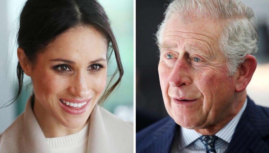 OVERTAR FOR MEGHANS FAR: Fredag formiddag ble det kjent at det er prins Charles (t.h.) som skal føre Meghan Markle opp kirkegulvet når hun gifter seg med prins Harry i morgen. Foto: NTB scanpix