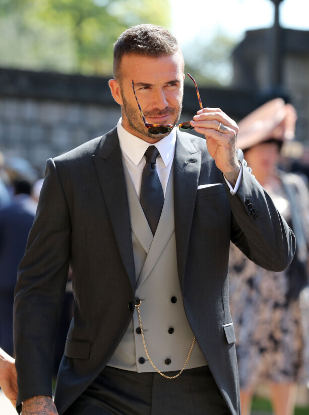 KLAR FOR BRYLLUP: David Beckham ankommer Windsor Castle. Foto: NTB Scanpix