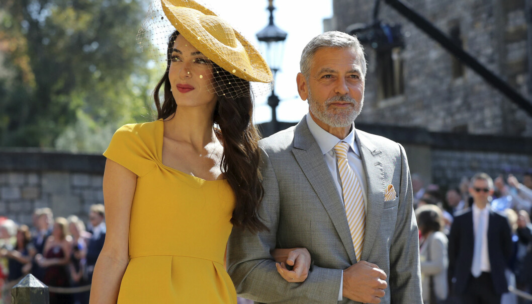 ROJALT BRYLLUP: Amal og George Clooney var selvskrevne gjester da prins Harry og hertuginne Meghan giftet seg 19. mai ifjor. Foto: NTB Scanpix