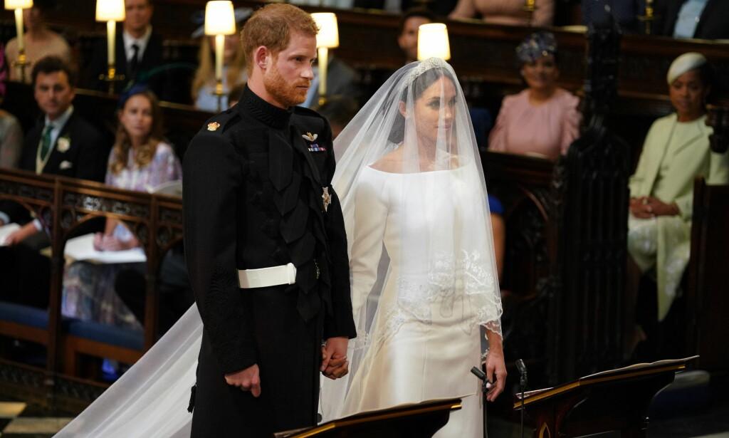 RETTE EKTEFOLK: Prins Harry og Meghan Markle ga hverandre sitt ja under lørdagens vielse. Foto: NTB Scanpix