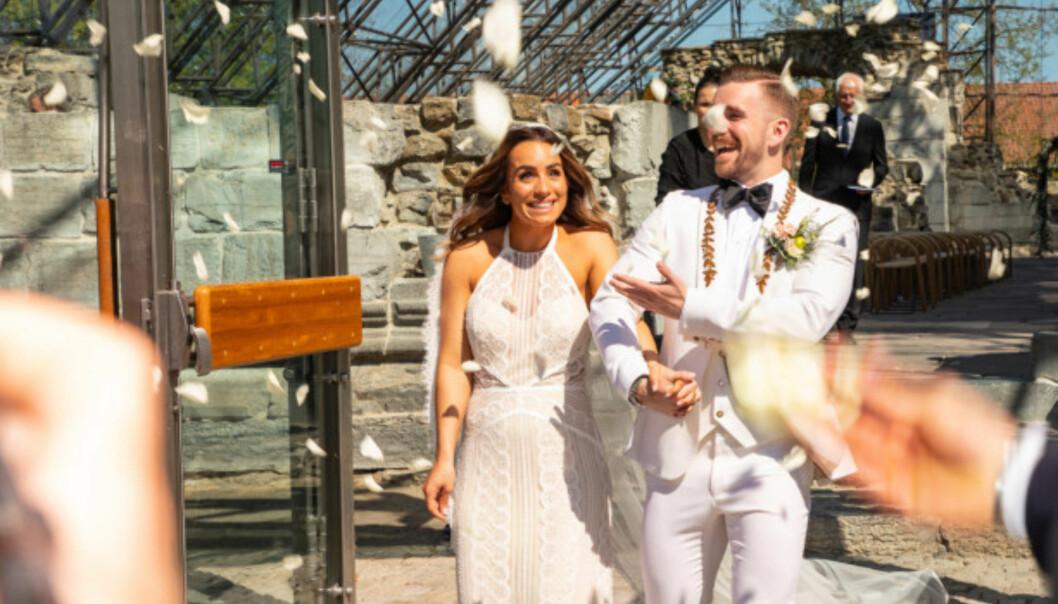 GIFT: Jamina Iversen og Stian Blipp giftet seg i Hamar lørdag. Foto: Tor Lindseth