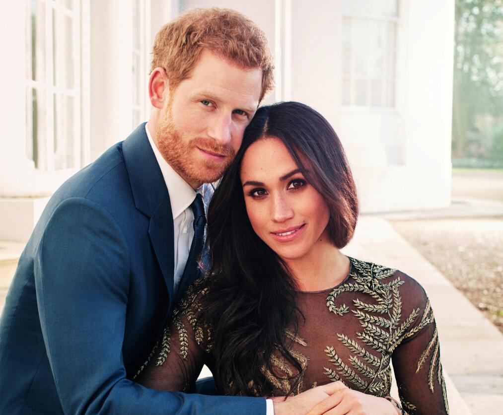 MEGHAN MARKLE PRINS HARRY: Lørdag 19. mai 2018 står bryllupet mellom amerikanske Meghan Markle og britiske prins Harry i Windsor Castle i England. Her fra forlovelsen i november 2017. FOTO: NTB scanpix