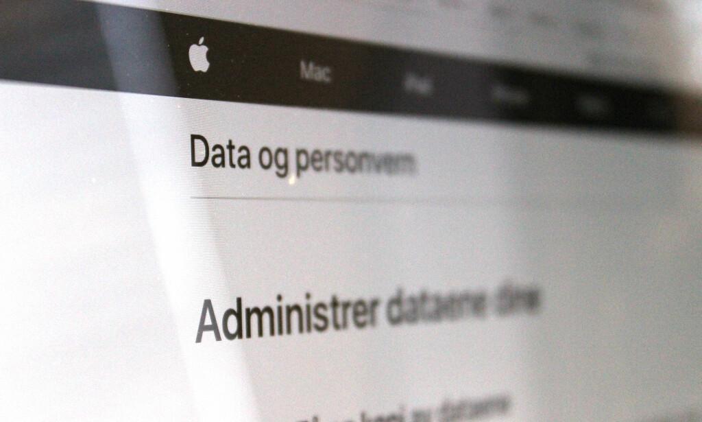 NY PORTAL: Fra nettsiden privacy.apple.com kan du nå laste ned en kopi av alle dataene tilknyttet din Apple ID. Foto: Kirsti Østvang