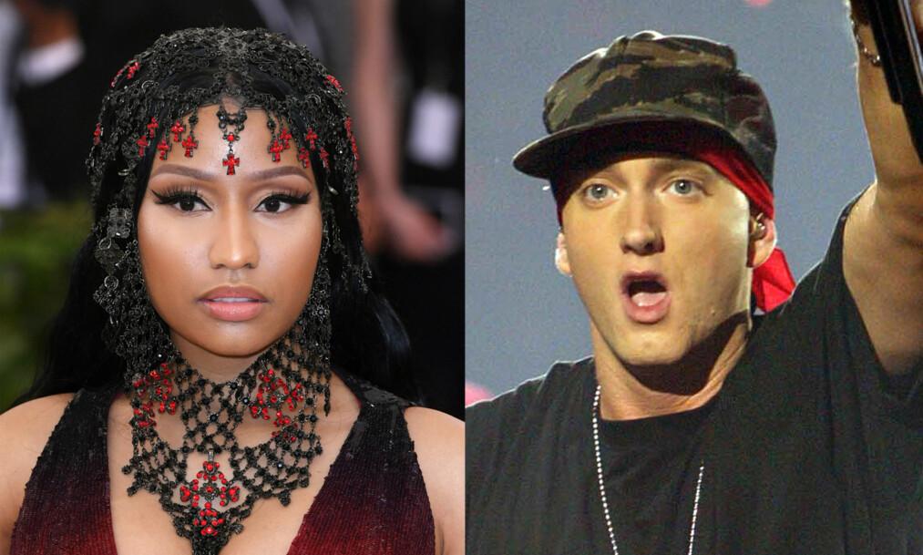 <strong>SØT MUSIKK?:</strong> Romansespekulasjonene mellom Nicki Minaj (35) og Eminem (45) har fått internett til å koke de siste dagene.   Foto: NTB Scanpix