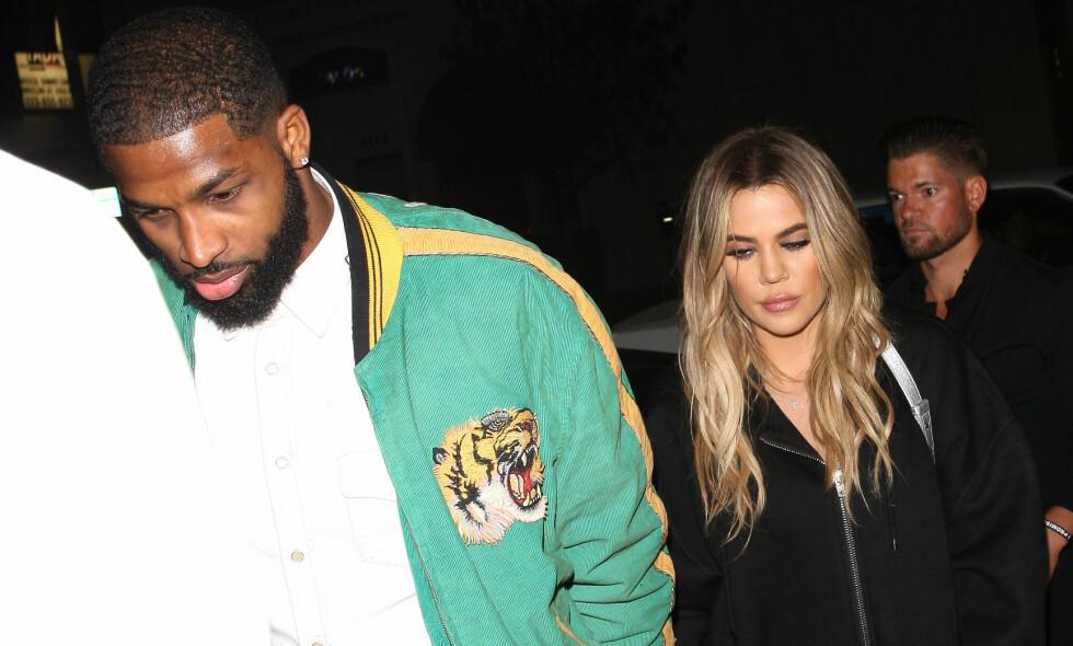 TØFF TID: Khloé Kardashian og Tristan Thompson ble foreldre til datteren True i starten av april, kun dager etter at videoer av Tristan i het omfavnelse med andre kvinner ble spredt i media. Foto: NTB scanpix