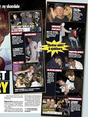 <strong>«SKANDALEPRINS»:</strong> I sine yngre dager var det nok lite som tydet på at prins Harry skulle slå seg til ro. Faksimile: Se og Hør
