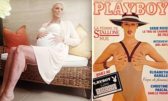 Modell Brigitte Nielsen viser frem babymagen