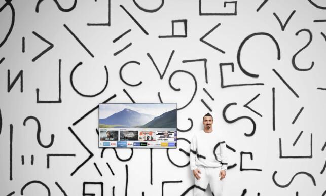ZLATAN, VEGG OG TV: Ambient Mood gjør at Samsungs QLED TV-en kan etterlikne et mønster på veggen.