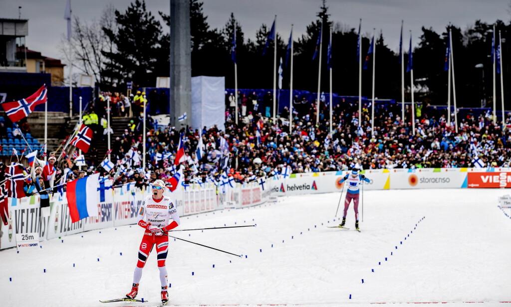 ANKERHELT: Finn Hågen Krogh avgjorde VM-stafetten i Lahti i 2018. Foto: Bjørn Langsem / Dagbladet
