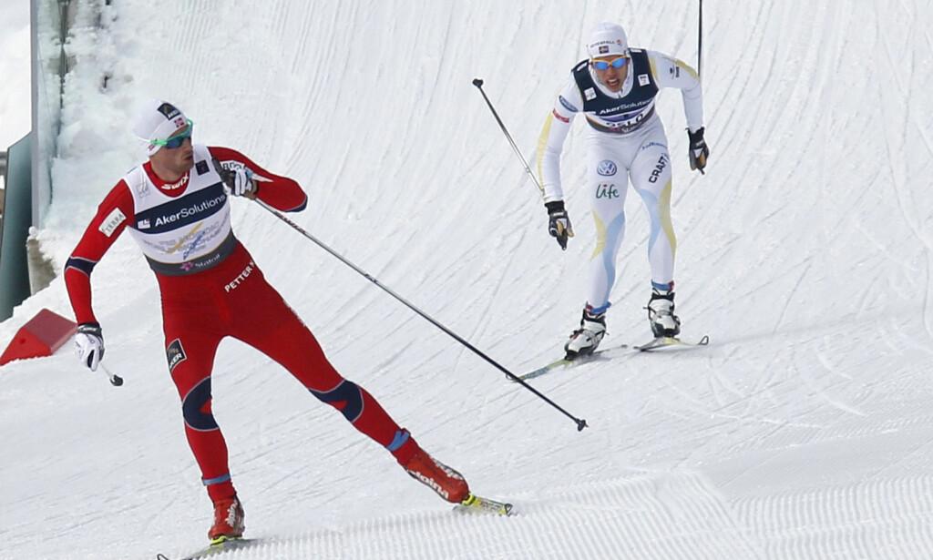 ANKERHELT: Petter Northug avgjorde alle VM-stafettene fra 2007 til 2015. Foto: REUTERS/Leonhard Foeger