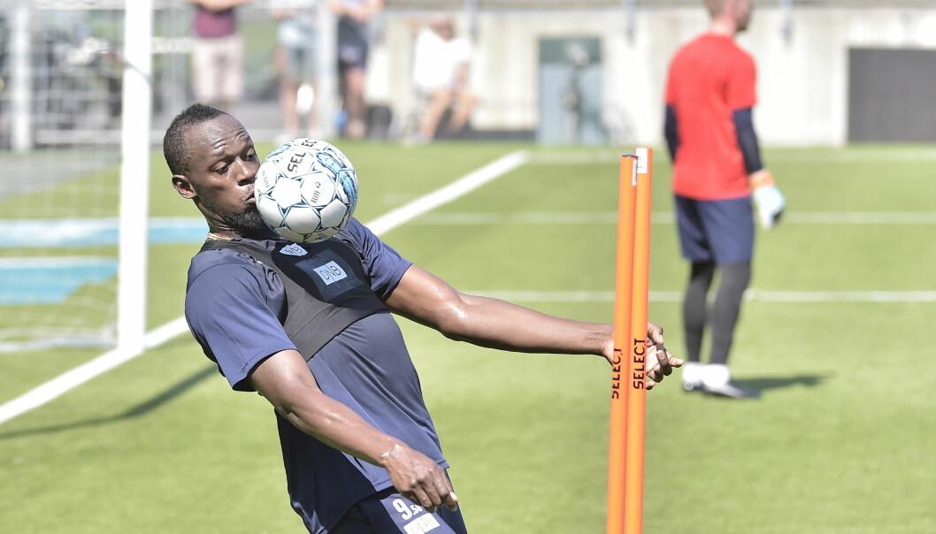 RUSTEN? Usain Bolt trener seg opp til en veldedighetskamp. Foto: Hans Arne Vedlog/Dagbladet