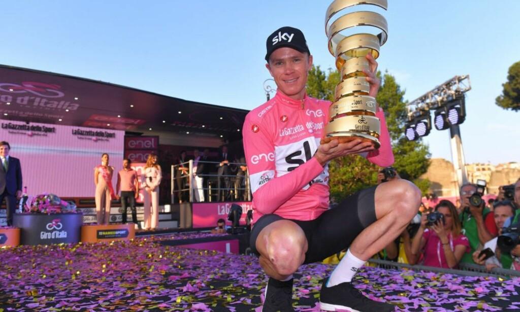 FÅR HAN BEHOLDE TROFEET? Chris Froome vant Giro d'Italia, men har en pågående dopingsak hengende over seg. FOTO: Tim de Waele/Getty Images