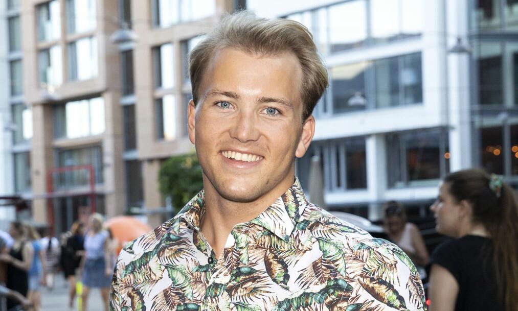 <strong>LIVET SMILER:</strong> En forelsket Grunde på lanseringsfest i sommer. Foto: Andreas Fadum/Se og Hør