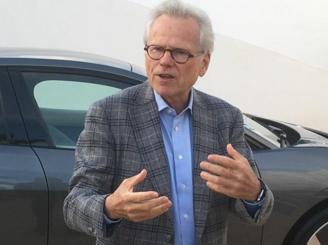<strong>IVRIG OG FORNØYD:</strong> Dr Wolfgang Ziebart har vært sjef for utviklingsteamet bak I-Pace. Han er ikke rent lite stolt av å ha kommet først på markedet med en premium-elbil fra en etablert produsent. Foto: Knut Moberg