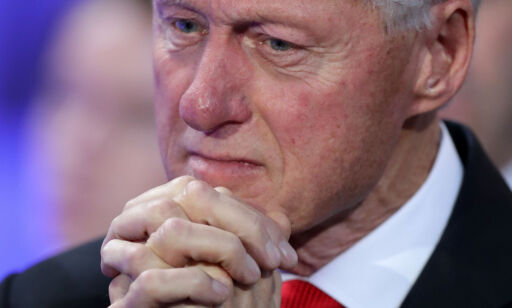 (FILES) In this file photo taken on July 27, 2016 PHILADELPHIA, PA - JULY 28: Former US President Bill Clinton becomes emotional as he listens to his daughter Chelsea Clinton introduce her mother, Democratic presidential nominee Hillary Clinton, on the fourth day of the Democratic National Convention at the Wells Fargo Center, in Philadelphia, Pennsylvania. Former US president Bill Clinton said he has not spoken to Monica Lewinsky since the revelation of their affair and that while he has apologized to her publicly he does not think a private apology is necessary at this point. / AFP PHOTO / GETTY IMAGES NORTH AMERICA / CHIP SOMODEVILLA