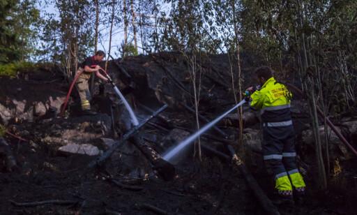 PÅ PLASS: Brannvesenet jobber med å slukke skogbrannen ved Taraldrud trafikkstasjon mandag kveld. Foto: Heiko Junge / NTB scanpix