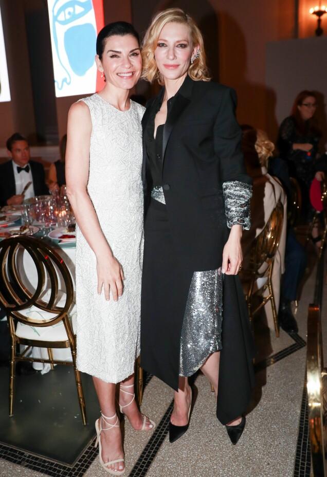 I HVITT, SORT OG SØLV: Skuespillerne Julianna Margulies og Cate Blanchett. Foto: Neil Rasmus/ BFA/REX/Shutterstock/ NTB scanpix