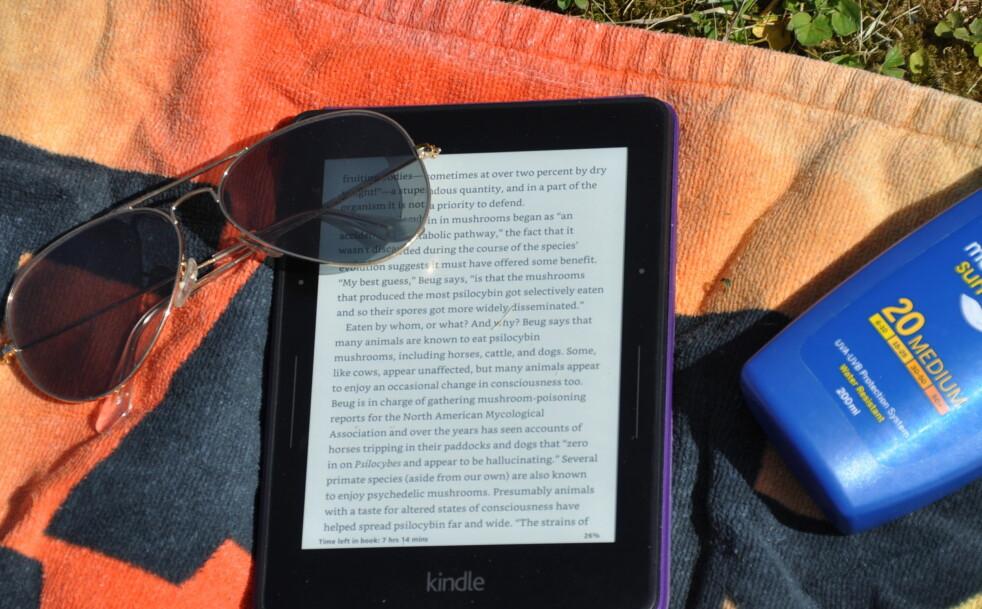 <strong>SJEFEN I SOLA:</strong> Amazons Kindle-lesebrett blir faktisk enda mer lesbar i direkte solskinn enn inne i stua. For lesehesten er dett eller andre e-boklesere førstevalget på stranda. Foto: Tore Neset