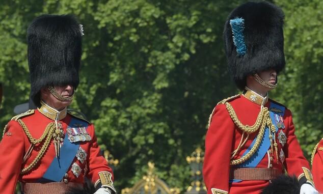 <strong>TITT-TEI:</strong> Prins Charles og prins William var nesten usynlige der de satt oppå hver sin hest. Foto: NTB Scanpix