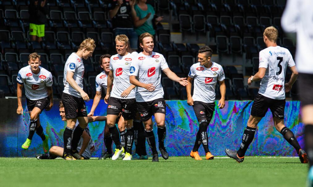 STERK SEIER: Sogndal overtok andreplassen i Obos-ligaen etter 1-0-seieren mot Viking. Foto: Fredrik Varfjell / Bildbyrån.