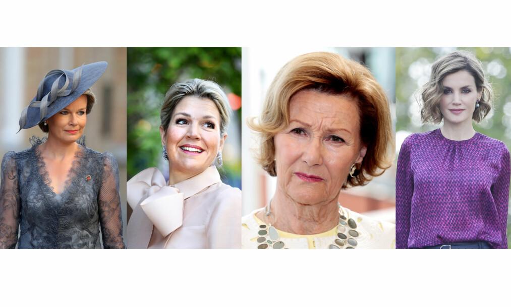 DRONNINGER: Både dronning Mathilde av Belgia, dronning Máxima av Nederland, dronning Sonja av Norge og dronning Letizia av Spania har alle opplevd å miste sine søstre på tragisk vis. FOTO: NTB Scanpix