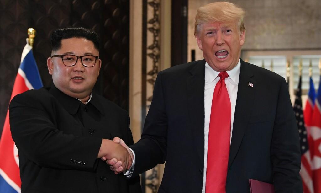 MØTES IGJEN: Donald Trump og Kim Jong-un fra sitt første møte i Singapore i juni i fjor. Foto: AFP / NTB Scanpix