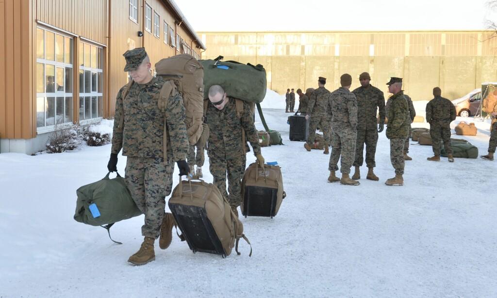 I januar i fjor ankom tre hundre soldater fra det amerikanske marinekorpset Norge og Værnes. Nå åpner regjeringen for å utvide den omstridte ordningen med amerikansk rotasjonsbasert trening og øving i Norge. Foto: Ned Alley / NTB scanpix