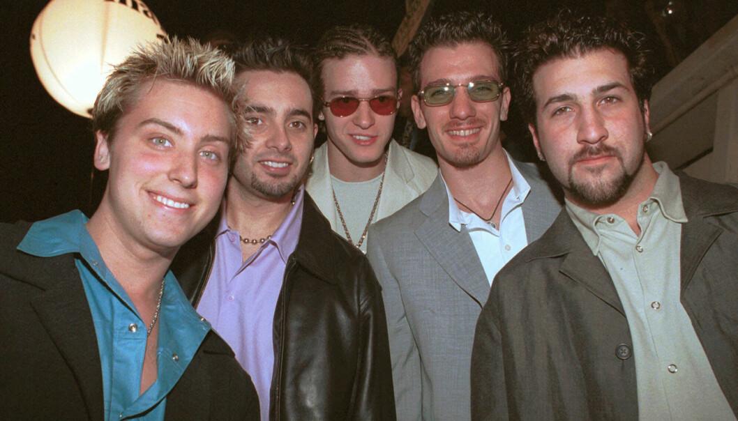 IDOLER: Det er slik vi var vant til å se gutta i boybandet 'N Sync da de var på toppen av sin karriere. Foto: NTB Scanpix